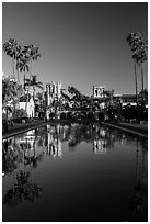 House of Hospitality and Casa de Balboa reflected in lily pond. San Diego, California, USA ( black and white)