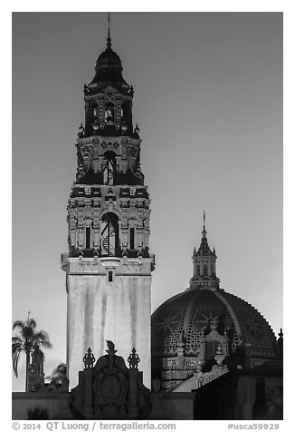Museum of Man tower and dome at dusk. San Diego, California, USA (black and white)