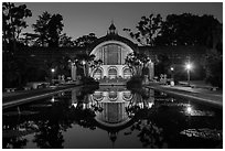 Botanical Building and reflection at night. San Diego, California, USA ( black and white)