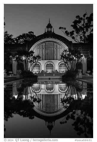 Botanical Building reflected at night. San Diego, California, USA (black and white)