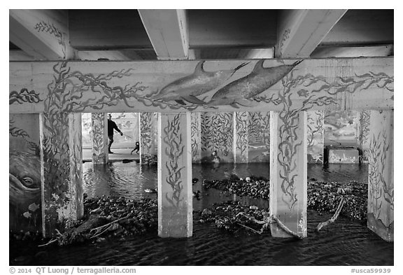 Man walking dog in underpass with mural, Leo Carrillo State Park. Los Angeles, California, USA (black and white)