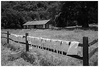 Laundry drying on fence, Fort Tejon state historic park. California, USA ( black and white)