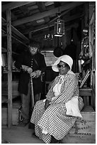 Elderly couple in period costume, Fort Tejon. California, USA ( black and white)
