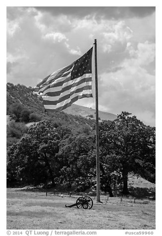 American flag, Fort Tejon. California, USA (black and white)
