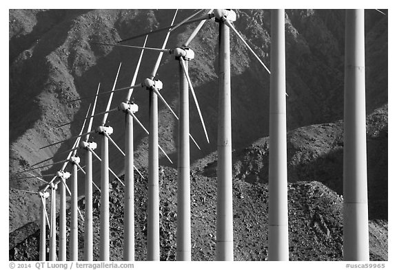 Row of Wind turbines, San Gorgonio Pass. California, USA (black and white)