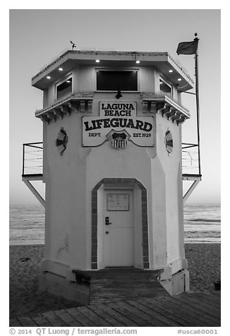 Lifeguard tower. Laguna Beach, Orange County, California, USA (black and white)