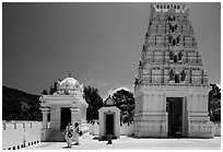 Women visiting Malibu Hindu Temple, Calabasas. Los Angeles, California, USA ( black and white)