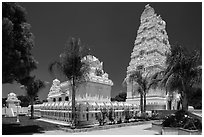 Malibu Hindu Temple, Calabasas. Los Angeles, California, USA ( black and white)