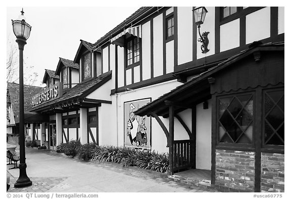 Andersen's half-timbered building. California, USA (black and white)