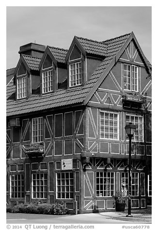Red half-timbered building. Solvang, California, USA (black and white)