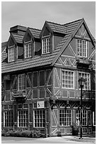 Red half-timbered building. Solvang, California, USA ( black and white)