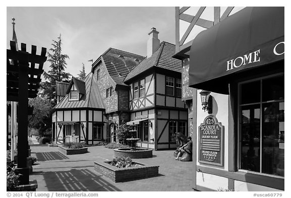 Court with half-timbered buildings. Solvang, California, USA (black and white)