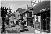 Court with half-timbered buildings. Solvang, California, USA ( black and white)