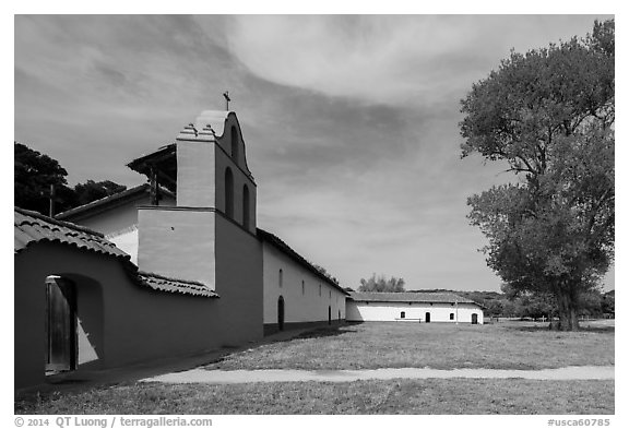 Mission la Purísima Concepción de María Santísima. Lompoc, California, USA (black and white)