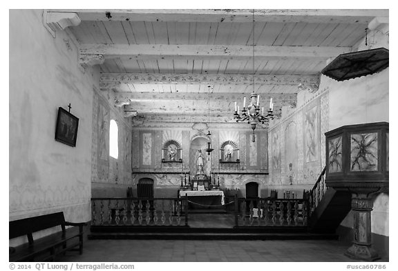 Chapel interior, La Purísima Mission. Lompoc, California, USA (black and white)