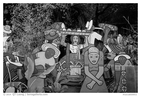 Painted cutouts in garden. Big Sur, California, USA (black and white)