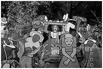Painted cutouts in garden. Big Sur, California, USA ( black and white)