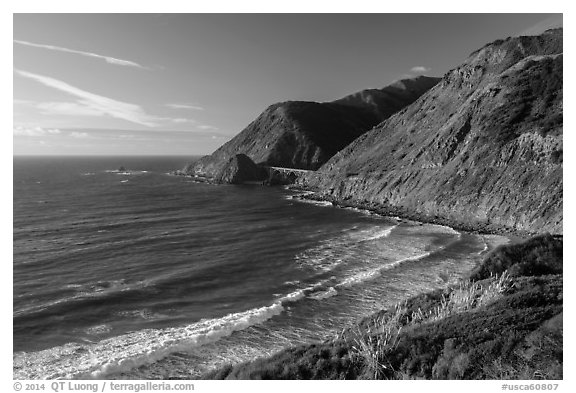 Cove lighted by setting sun. Big Sur, California, USA (black and white)
