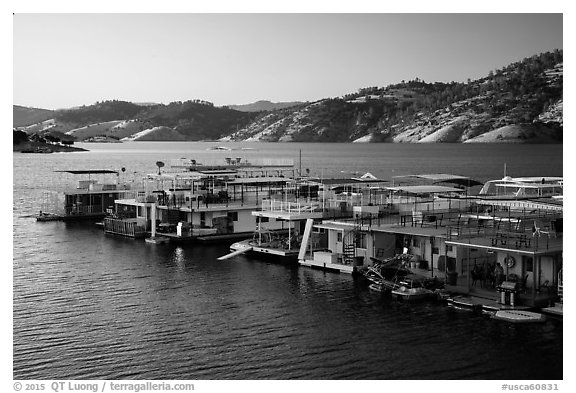 Marina, Lake Mcswain. California, USA (black and white)