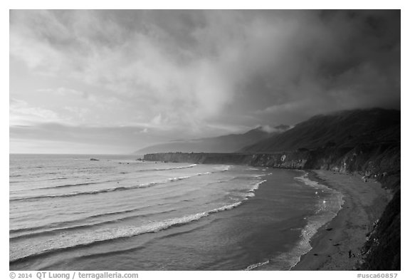 Sand Dollar Beach at sunset. Big Sur, California, USA (black and white)