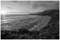 Sun setting, Sand Dollar Beach. Big Sur, California, USA ( black and white)