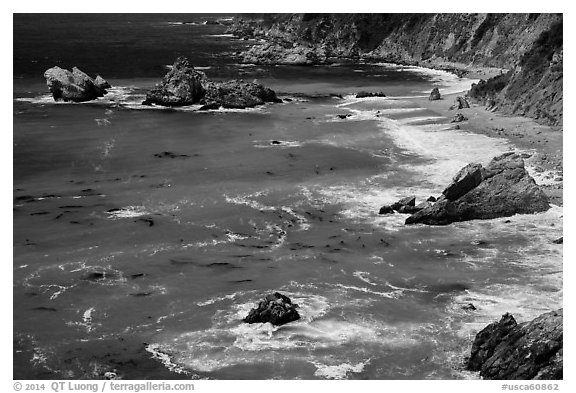 Green waters and shoreline, Julia Pfeiffer Burns State Park. Big Sur, California, USA (black and white)