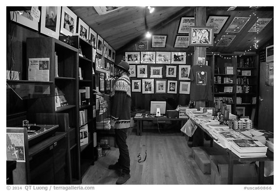 Visitor browsing, Henry Miller Memorial Library. Big Sur, California, USA (black and white)