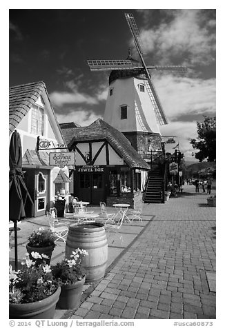 Bakery and windmill. Solvang, California, USA (black and white)