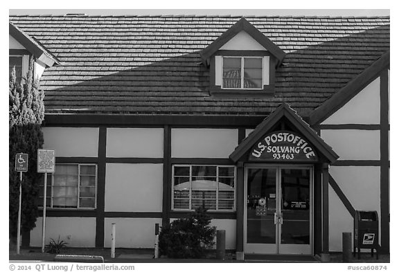 Post office. Solvang, California, USA (black and white)