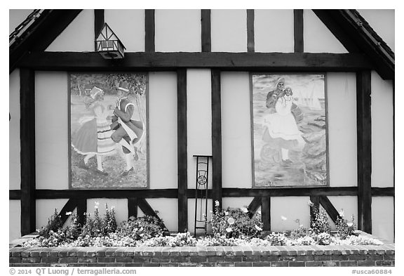 Mural decor on danish-style building. Solvang, California, USA (black and white)