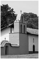 Bell tower, La Purisma Mission. Lompoc, California, USA ( black and white)