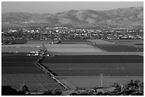 Agricultural lands in Salinas Valley. California, USA ( black and white)