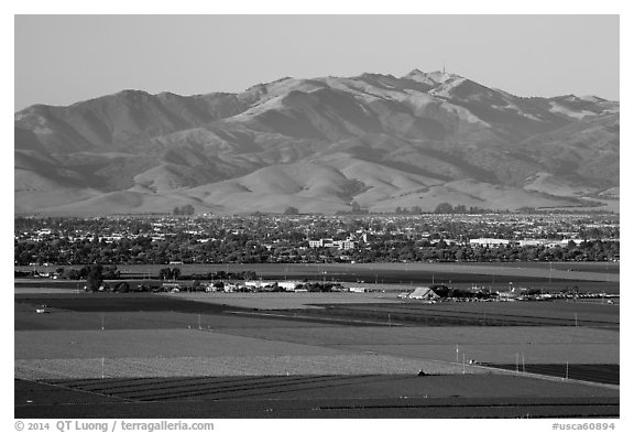 Agricultural lands and Salinas Valley. California, USA (black and white)