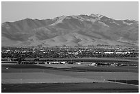 Agricultural lands and Salinas Valley. California, USA ( black and white)