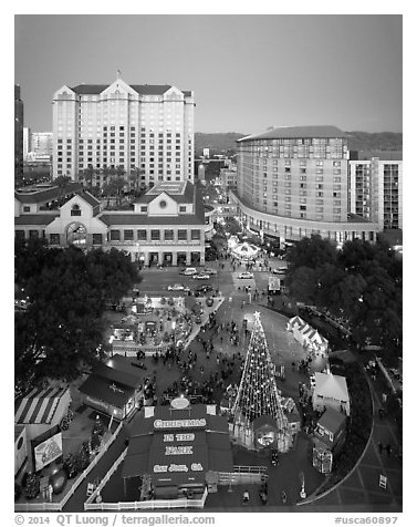 Aerial view of Christmas in the Park and Fairmont Hotel. San Jose, California, USA (black and white)
