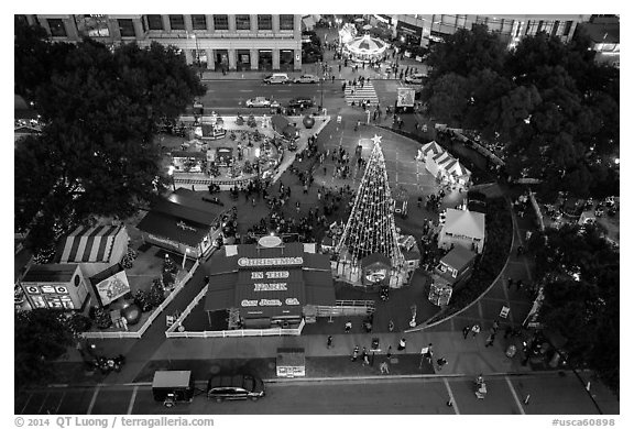 Aerial view of Christmas in the Park. San Jose, California, USA (black and white)