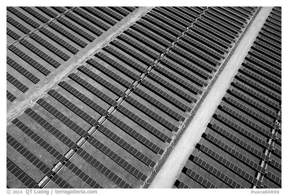 Aerial view of solar park. San Jose, California, USA (black and white)