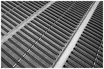 Aerial view of solar park. San Jose, California, USA ( black and white)