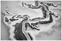 Aerial view of salt pond. Redwood City,  California, USA ( black and white)