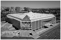 Aerial view of SAP Center. San Jose, California, USA ( black and white)