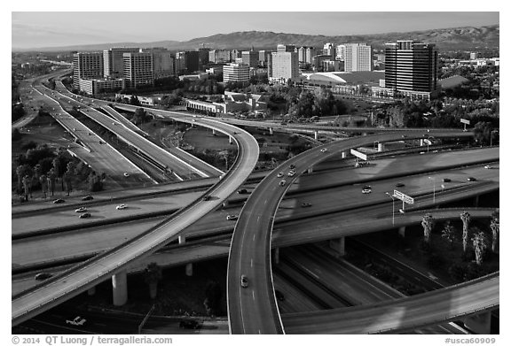 Aerial view of highway exchange and downtown. San Jose, California, USA (black and white)