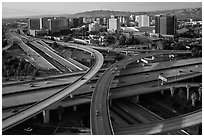 Aerial view of highway exchange and downtown. San Jose, California, USA ( black and white)