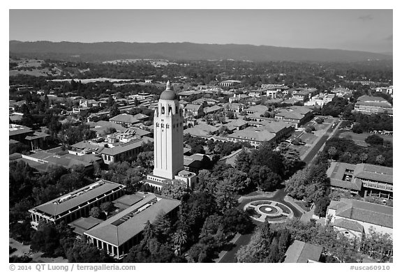 Aerial view of Hoover Tower and campus. Stanford University, California, USA (black and white)