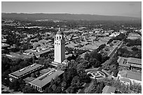 Aerial view of Hoover Tower and campus. Stanford University, California, USA ( black and white)