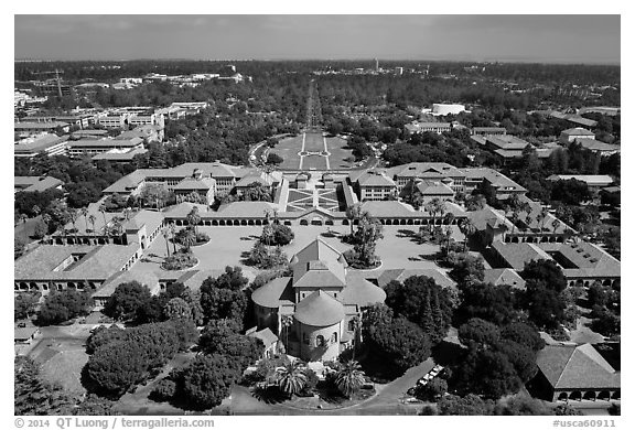 Aerial view of Main Quad. Stanford University, California, USA (black and white)