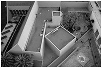 Aerial view of Childrens Museum. San Jose, California, USA ( black and white)