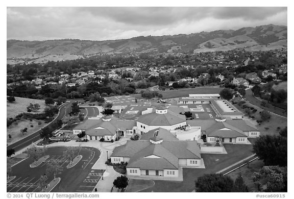 Aerial view of Silver Oak school and Evergreen hills. San Jose, California, USA (black and white)