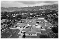 Aerial view of Silver Oak school and Evergreen hills. San Jose, California, USA ( black and white)