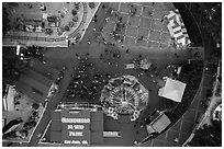 Aerial view of Christmas in the Park looking straight down. San Jose, California, USA ( black and white)