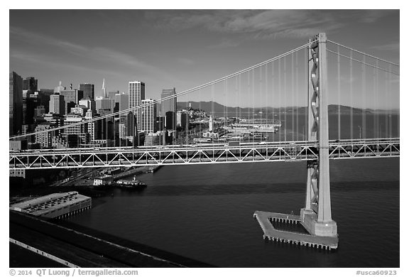 Aerial view of Bay Bridge and Embarcadero. San Francisco, California, USA (black and white)